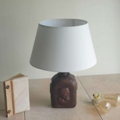 Bottle Lamp - Unusual Vintage Leather Coated Bottle With Faces
