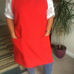 Handmade Japanese style apron, Red pinafore