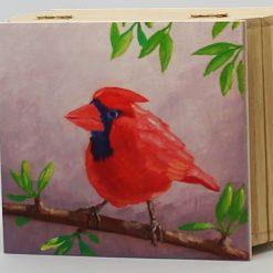 Red Bird jewellery box.Wooden box.Handpainted box. Cardinal bird art. Woodland bird art.