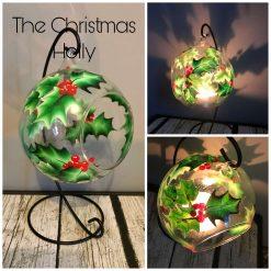 Large Globe Tea Light Holder & Stand - The Christmas Holly