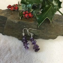 Amethyst Gemstone Drop earrings Silver