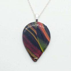 Autumn. Teardrop pendant in swirly autumnal colours