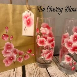 A Pair of Hi-Ball Glasses- Hand Painted Flowers-