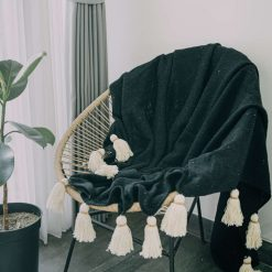 Black Natural Fiber Tassel Blanket Throws (130cm x 180cm)