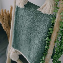 Green Natural Fiber Tassel Throws (130cm x 180cm)