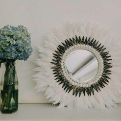 Juju Bohemian Style Feather Wall Mirror
