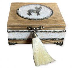Handmade wooden jewellery box keepsake box golden deer decoupage Christmas Gift Secret Santa gift personalised