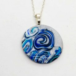 Round wave pendant in blues and silver