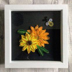 Quilled sunflower art, sunflower wall decor, box frame decoration
