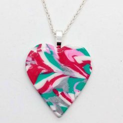 Heart pendant in pink, green, white and silver
