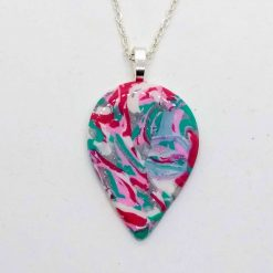pink, green, white and silver marbled teardrop pendant