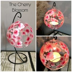 Tea Light Holder & Stand- Hand Painted- The Cherry Blossom