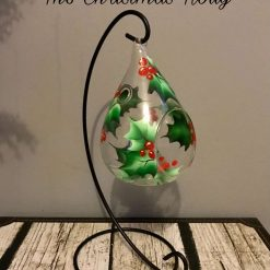 Teardrop Tea Light Holder & Stand- Hand Painted - The Christmas Holly