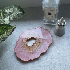 Handmade Geode Resin Coaster Pink, White and Gold