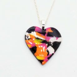 Heart pendant in black, pink, orange and yellow