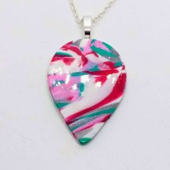 Teardrop pendant in pink, green, white and silver