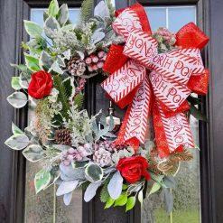North Pole Foliage & Red Rose Christmas Wreath