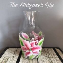 Hand Painted floral Vase/Carafe-Lily designs- Stargazer-White Lily