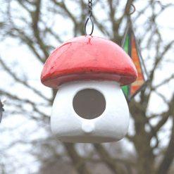 Ceramic Bird Feeder Mushroom Shape Hand Glazed Red White With Chain