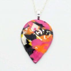 Teardrop pendant in black, pink, orange and yellow