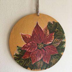 Gold Poinsettia Hanging Circle
