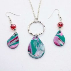 Handmade necklace and drop earrings in pink, green, white and silver