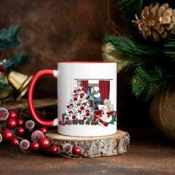 Christmas Tree Scene - Red and White Christmas Mug - Made to Order (Last Orders before Christmas: 15 December)