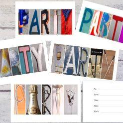 Set of Letter Photo Word Party Invitations