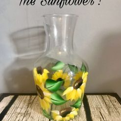 Hand Painted floral Vase/Carafe- The Sunflower