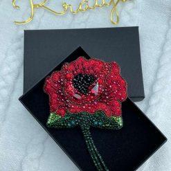 Handmade beaded red flower