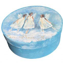 Handmade wooden jewellery box keepsake box gift box blue and white angels decoupage gift for her