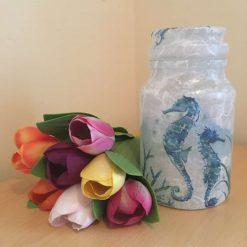 Seahorse Decoupaged Storage Jar