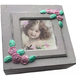 Handmade shabby chic Wooden Keepsake/Jewellery Box With Girl unique gift for her