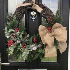Traditional Burlap Bow Christmas Wreath