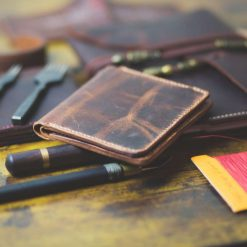 Leather wallet made from exotic african goat leather