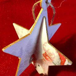 Hanging Wooden Star Santa & Robin