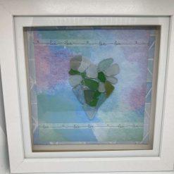 Pebble art, sea glass heart