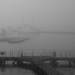 Print Early Morning Misty View over the marina at mount wise in black and white
