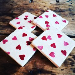 Emma Bridgewater Inspired Natural Stone Coaster in the hearts design. Set of 4