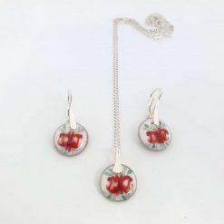 porcelain set / porcelain jewelry / porcelain / jewelry / pendant / earrings / delft blue / ceramics / ceramic set / hand crafted / art