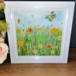 Yellow flower meadow box frame, home decoration (free p&p)