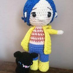 Handmade crochet cute Coraline doll and cat