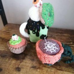 Handmade Halloween crochet play food set