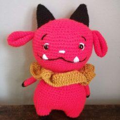 Handmade crochet cute red devil toy