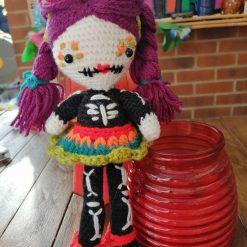 Handmade crochet cute day of the dead doll