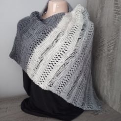 Ladies Hand Knitted Stormy Sky Shawl