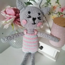 Handmade crochet cat rag doll