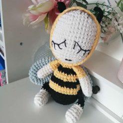 Handmade crochet baby boy bumble bee doll