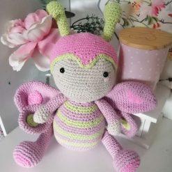 Handmade crochet baby butterfly doll