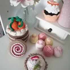 Handmade crochet play food sweet cakes